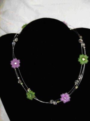 2 strand Swarovski crystal flower neckalce