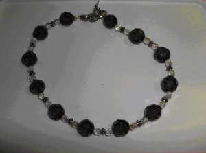 Black and white crystal choker necklace