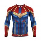 Men's Long Sleeve Captain Marvel 3D Compression Fitness Polyester Printed Shirt