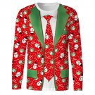 Ugly Men's Long Sleeve 3D Christmas Snowman Shirt Office Party Fun Gag Gift