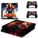 Captain Marvel Vinyl PS4 Game System Stickers Set Skin Decals For Console and 2 Controllers