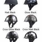 Retro Vintage Motorcycle Skull Cap 6 Style Half Helmet DOT with peak