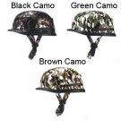Retro Vintage Motorcycle Skull Cap 3 Camouflage Style Half Helmet DOT