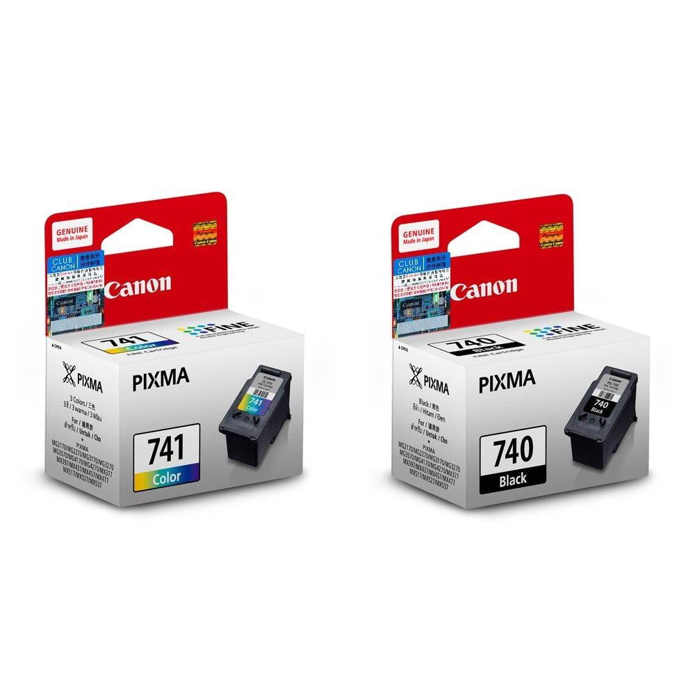 Canon PIXMA PG-740 Black and CL-741 Tri-Color Ink Cartridges (for MG4270) (2pcs) - Assorted #10904