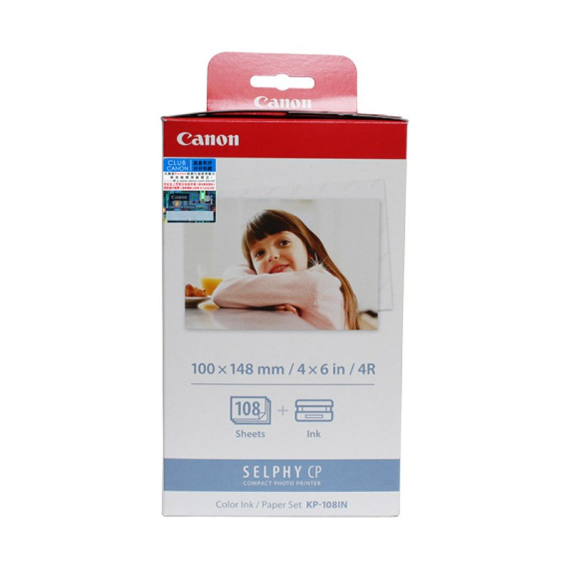 Canon KP-108IN Color Ink Cassette + 4R Paper Set (108 Sheets) (for CP1200) #9054