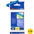 Brother TZe-535 Laminated 12mm Tape Cassettes (Pack of 10) - White on Blue #14682