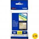 Brother TZe-PR234 Laminated 12mm Glitter Tape Cassettes (Pack of 10) - Gold on Premium White #14679