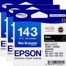 Epson 143 Extra High Capacity Ink Cartridge (Pack of 3) - Black Ink #15485