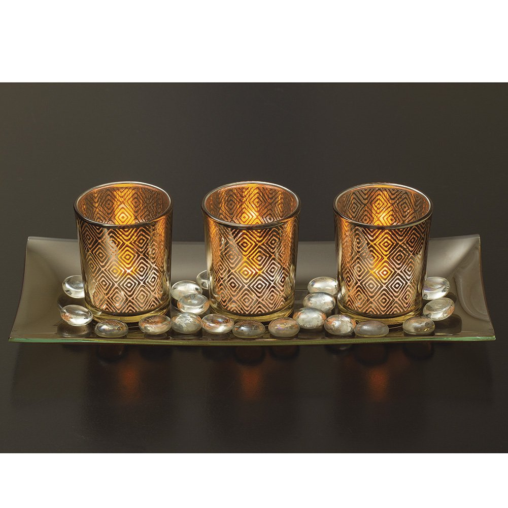 Decorative Glass Candle Holder Set with LED Tealights