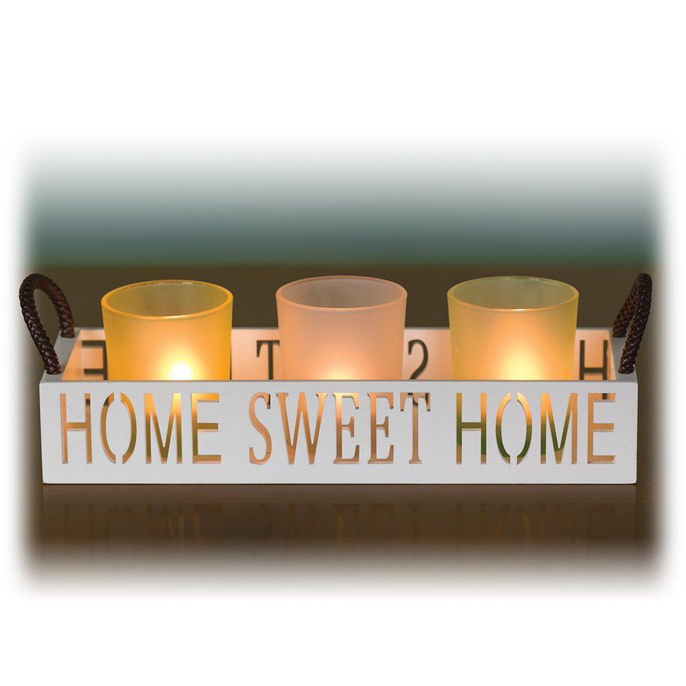 Home Sweet Home 3 Glass Candle Holder Set