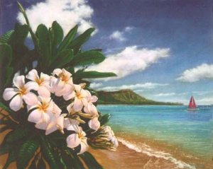 Hawaiian Plumeria Tropical Beach Art Print 8 x 10