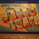 1940s Greetings From Wells Beach Maine Large Big Letter Color Linen Very Nice