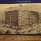 1911 Queen's Hotel Montreal Quebec Canada Black White Drawing Type Posted Card