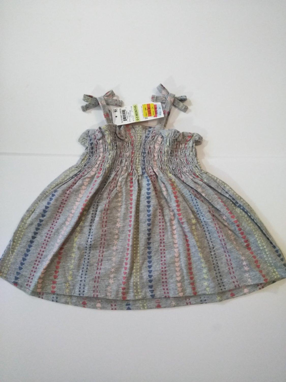 First Impression Baby Girl's Knit Sleeveless Dress -HTHR STORM -0-3/6-9/24 M