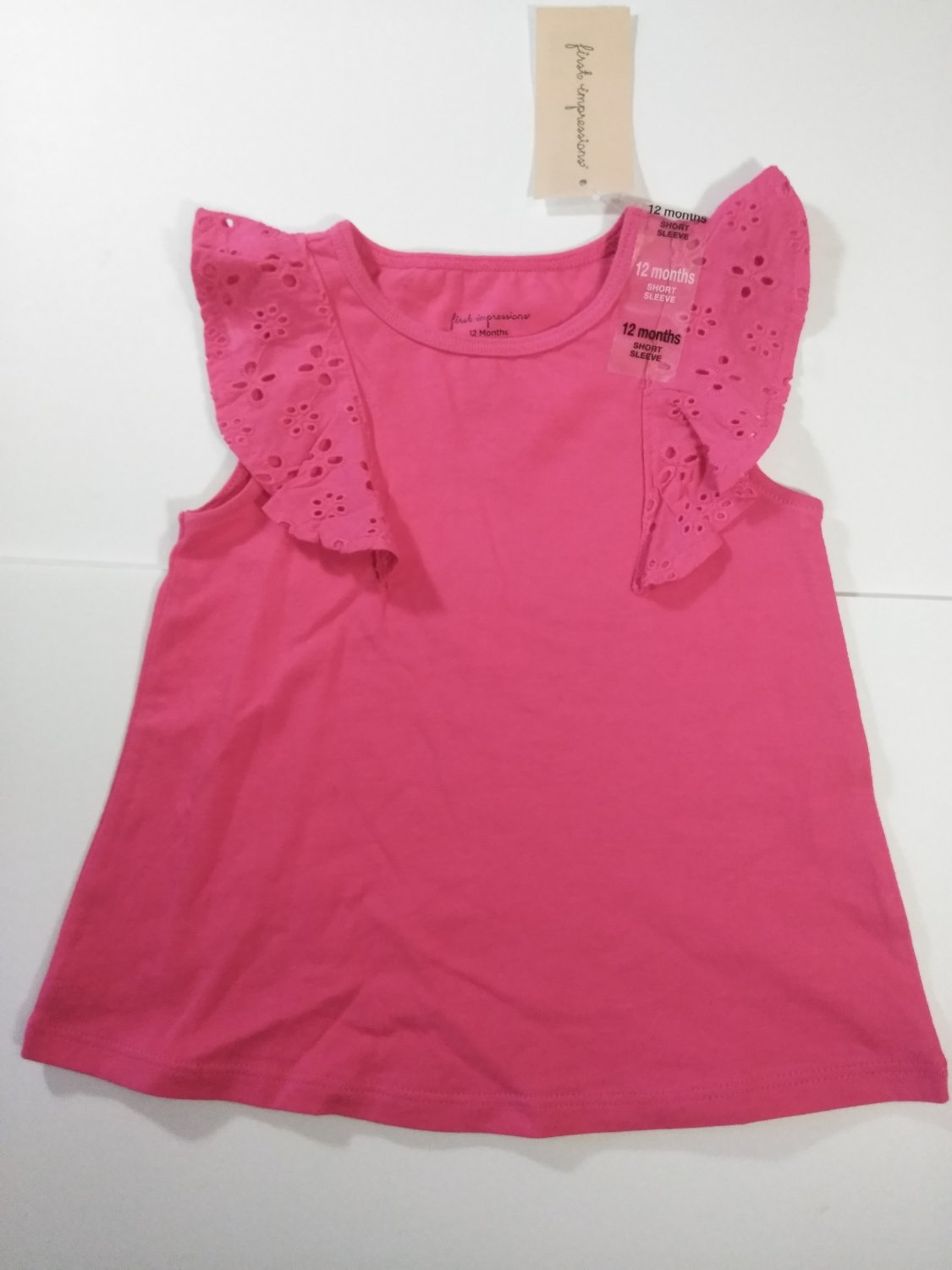 First Impression Baby Girl's Lace Knitted Short Sleeve Dress - Fiery Pink -6-9 M