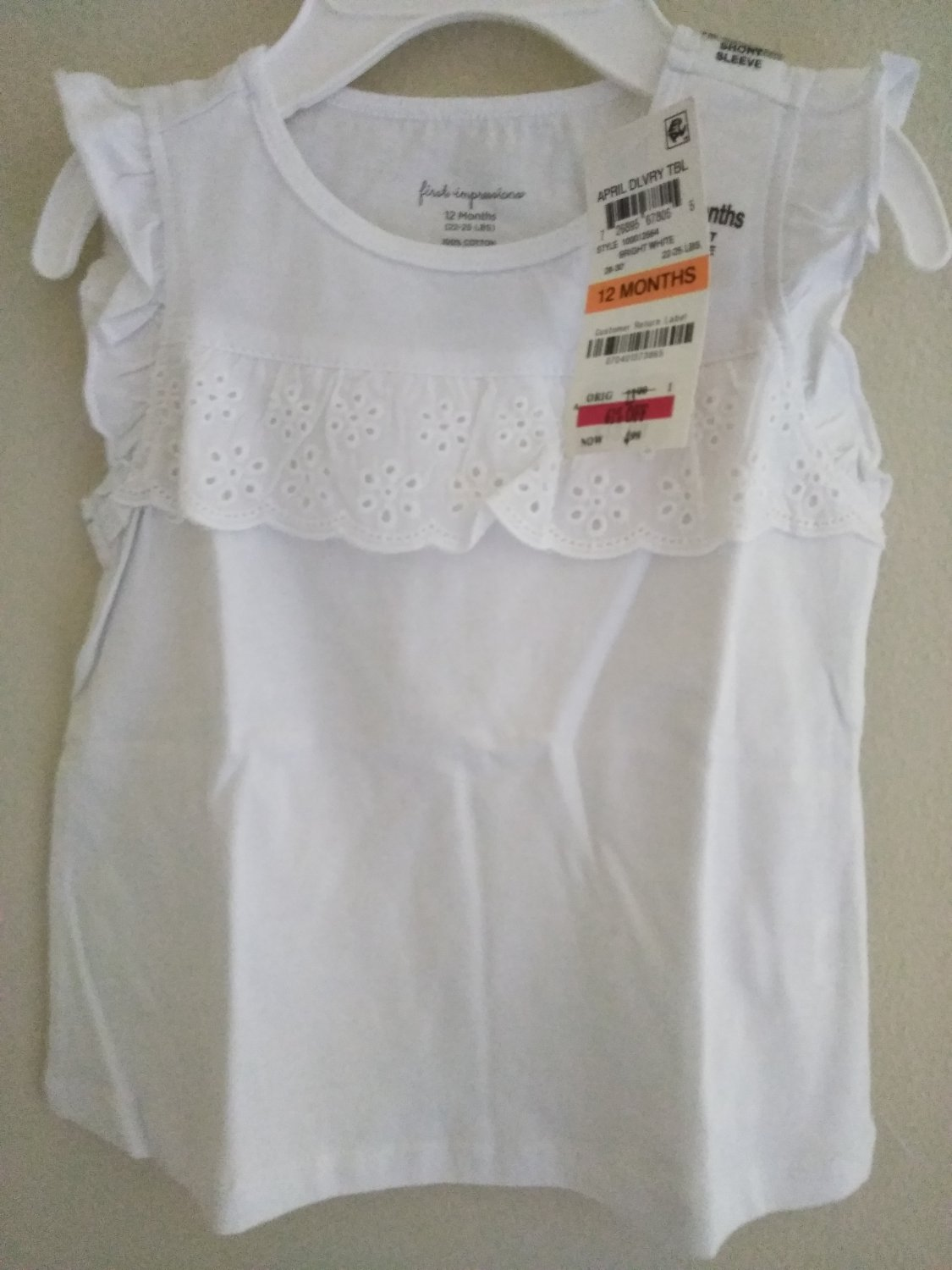 First Impression Baby Girl's White Short Sleeve Dress  3 - 24 Months