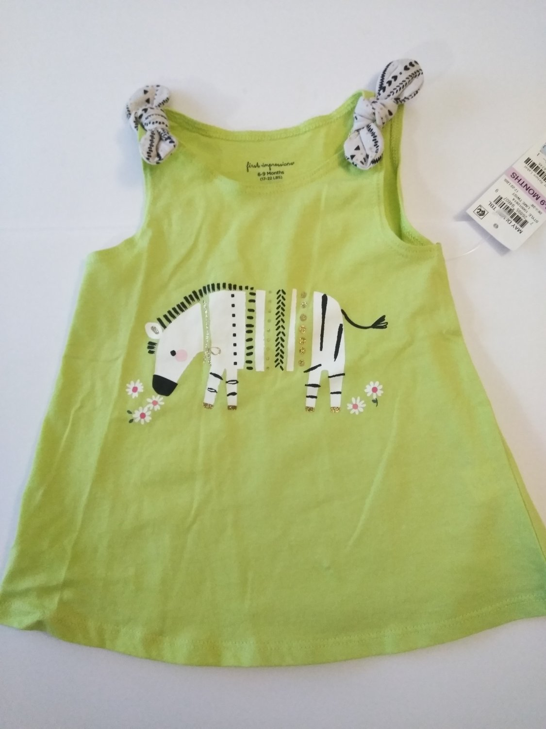 First Impression Baby Girl's Embroidered  Lime Twist Summer Dress - 3-12 M