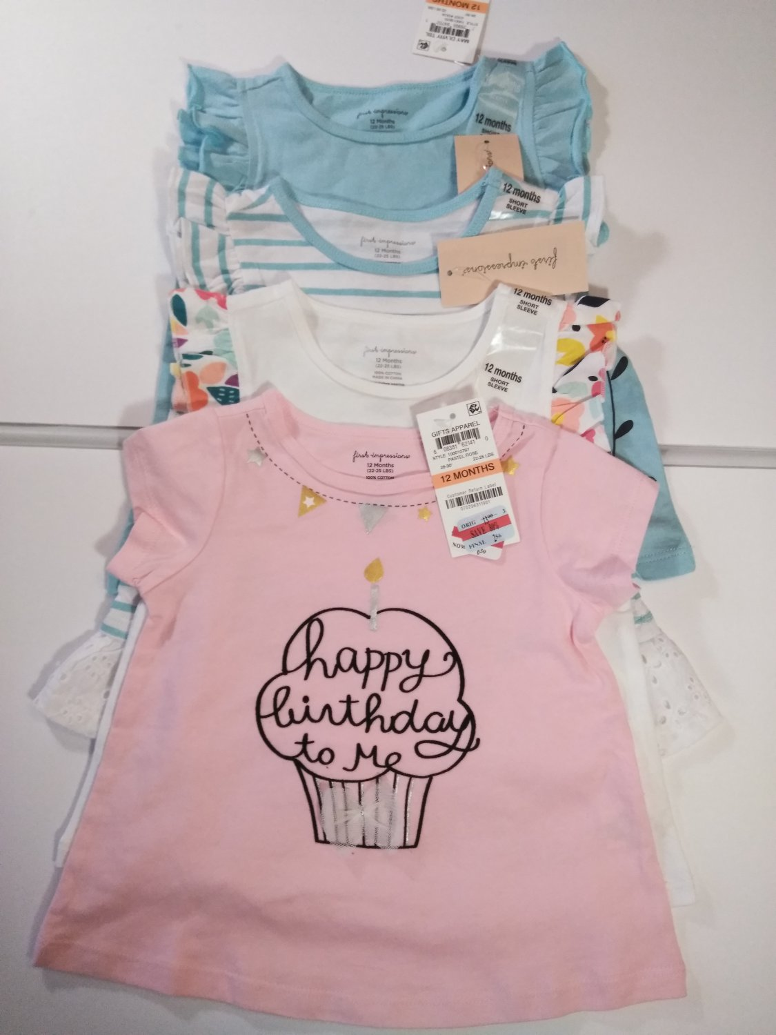 First Impression Baby Girl's Printed Multi Color Dress- 4 Piece Set 12 Months