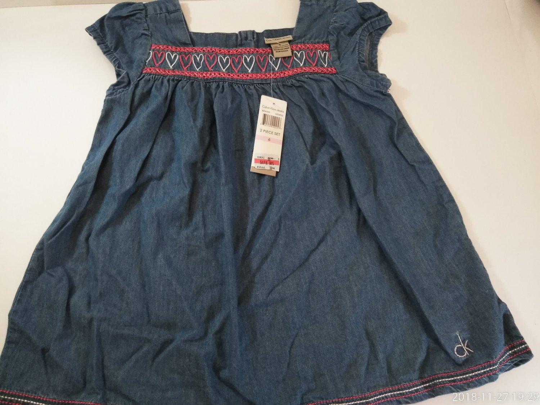 Calvin Klein Baby's Embroidered Blue  Denim Dress Size  3T / 5 / 6