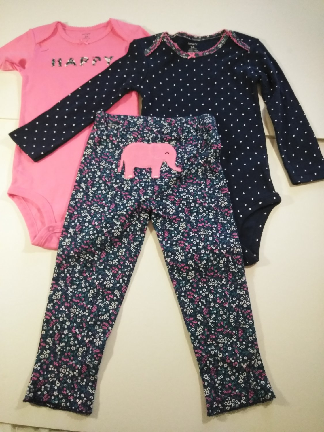 Baby Girl's Cater Embroidered Multi Color bodysuits & Pant Set - 24 Months