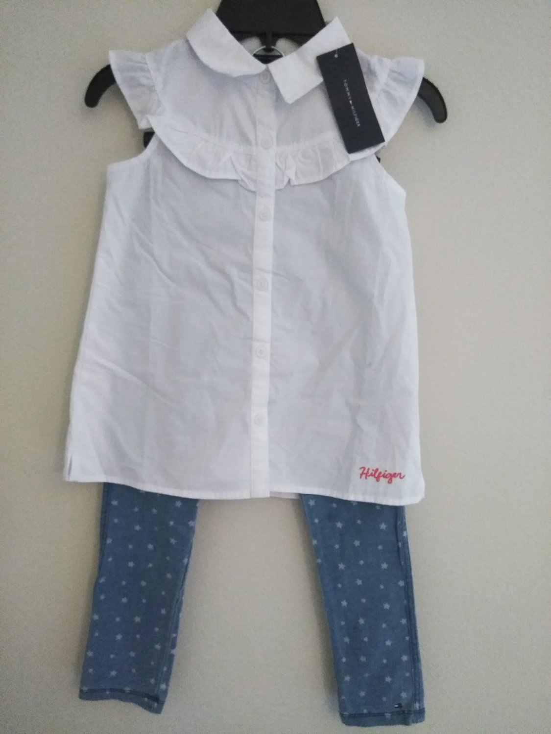 Tommy Hilfiger Infant 2 Piece  Sleeveless  White Top &  Blue Pant - Size 6