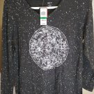 STYLE &CO WOMEN'S LONG SLEEVE V-NECK CELESTIAL CHARCOAL TOP - SIZE -L