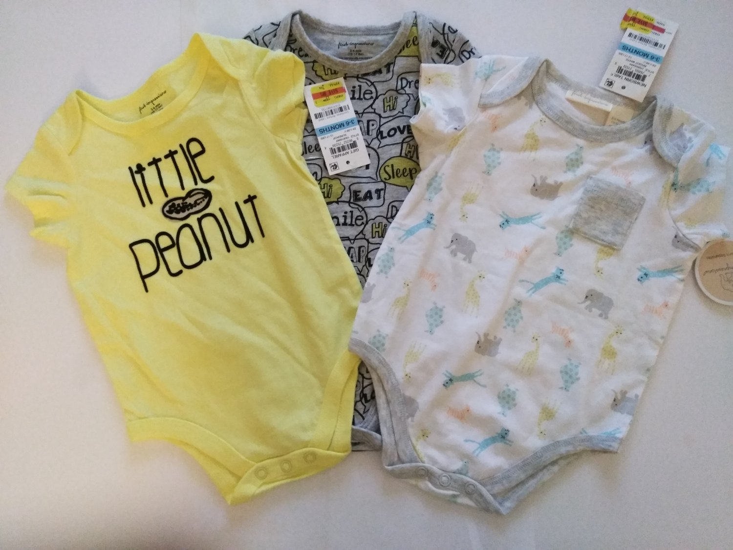 First Impression 3 Piece Set  Newborn Baby's Multi Color Bodysuit - 3-6 Months