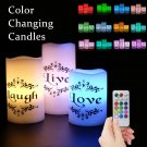 Flameless Color Changing Candles Real Wax with Multi Color and Timer - with Live, Love, Laugh