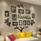 Family Tree Picture Frame Collage 3D DIY Stickers with 10 Photo Frame for Wall Mural Living Room