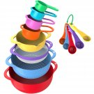 13 Piece Mixing Colorful Kitchen Bowls Colander Mesh Strainer with Handles Measuring Cups and Spoons