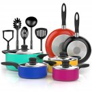 15 Piece Nonstick Cookware Set - Durable Aluminum Pots and Pans with Cooking Utensils