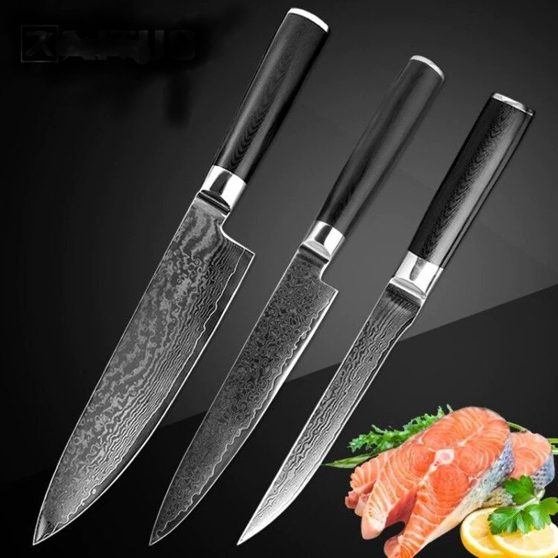 3pcs Damascus Kitchen Knife Set Japanese vg10 Damascus Steel 67 Layers
