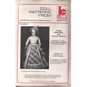 P-2349 Authentic Reproduction of Period Costume Doll Clothes Pattern