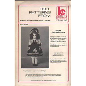P-2344 Authentic Reproduction of Period Costume Doll Clothes Pattern