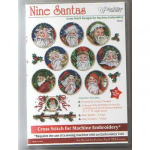 Nine Santas Embroidery Designs on CD from the Vermillion Stitchery