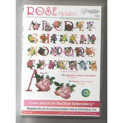The Rose Alphabet Collection Embroidery Designs on CD from the Vermillion Stitchery