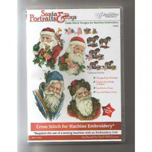 Santa Portrait and Toys Embroidery Designs on CD from the Vermillion Stitchery