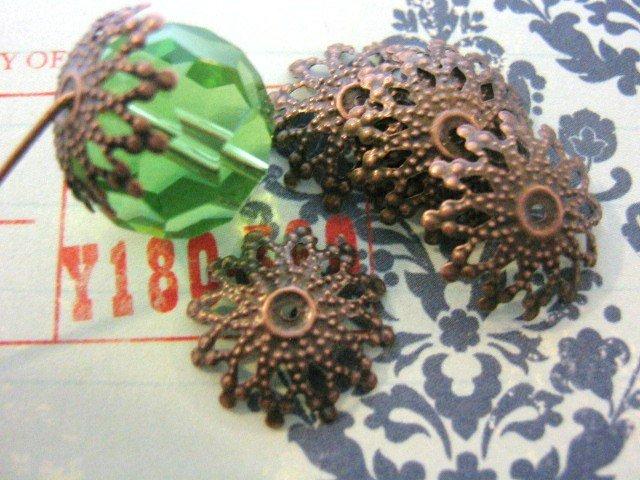 Snowflake Bead Caps 18mm Antiqued Copper Nickel Free