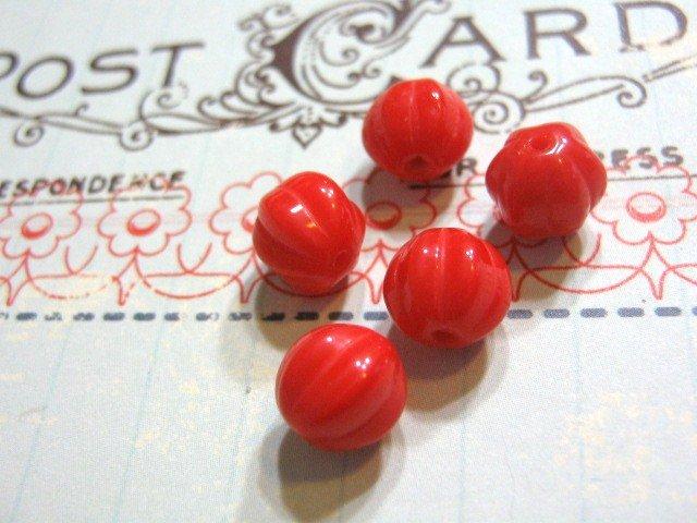 Red Opaque Czech Glass Beads 8mm Melon Round