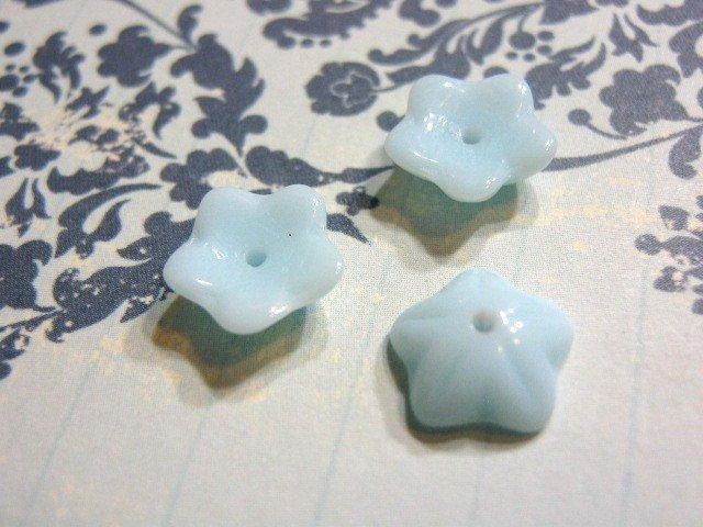 Skyblue Opaque Czech Glass Bead 10mm Flower 15