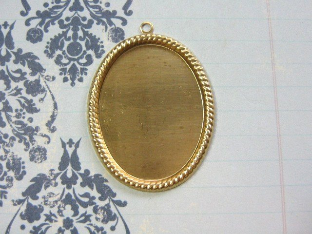 Cameo Setting Raw Brass 40x30mm Rope Edge 2 Pieces