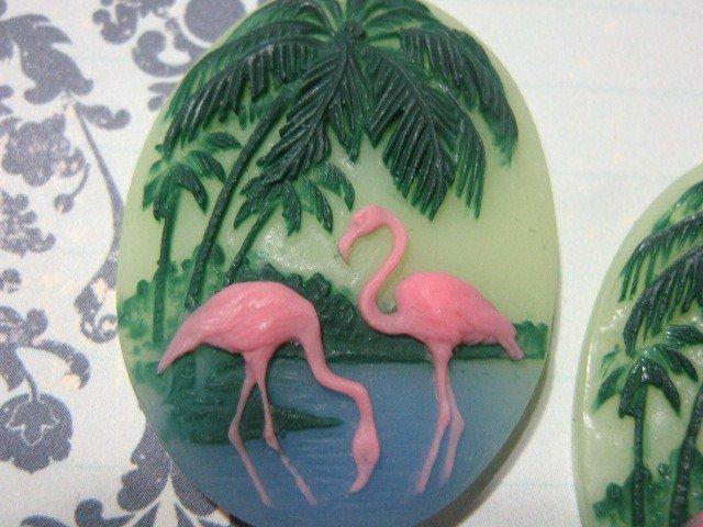 Flamingo Cameo 40x30mm Oval Plastic Cabochon
