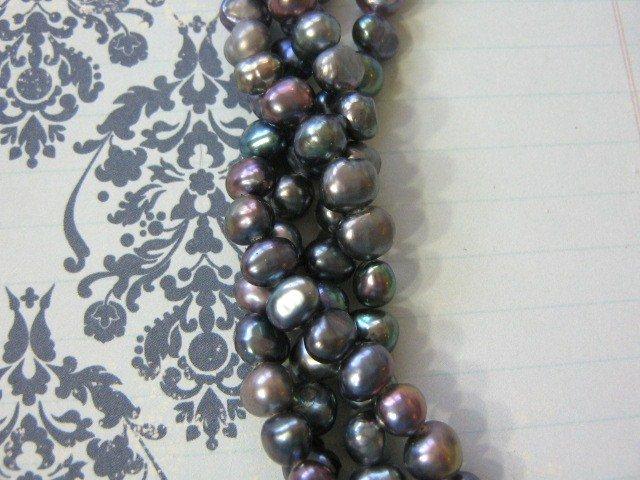 Peacock 7mm Potato Freshwater Pearls 67 Beads