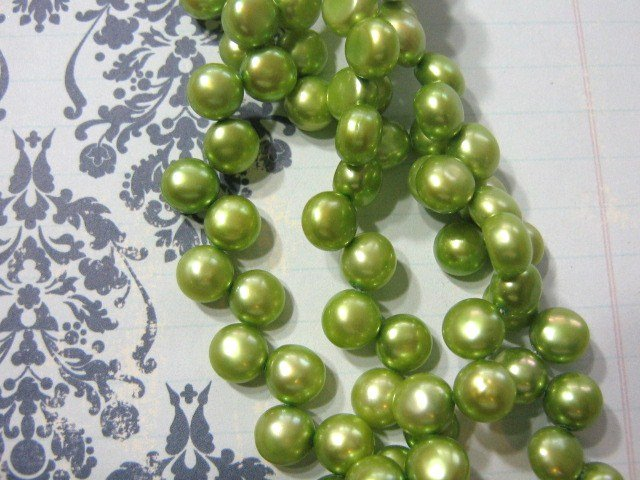 Green 8mm Flat Sided Round Freshwater Pearls