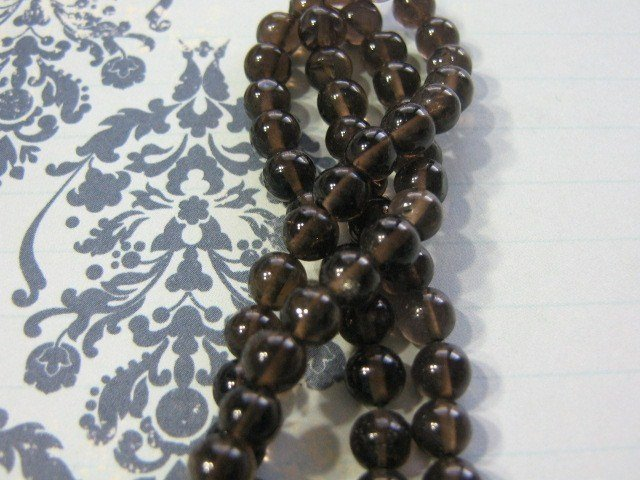Smoky Quartz Beads 6mm Round 34 Stones