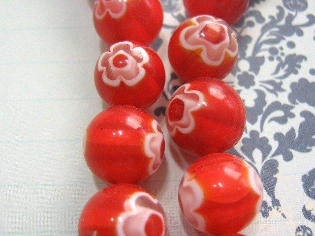 Red Millefiori Glass Beads 12mm Round