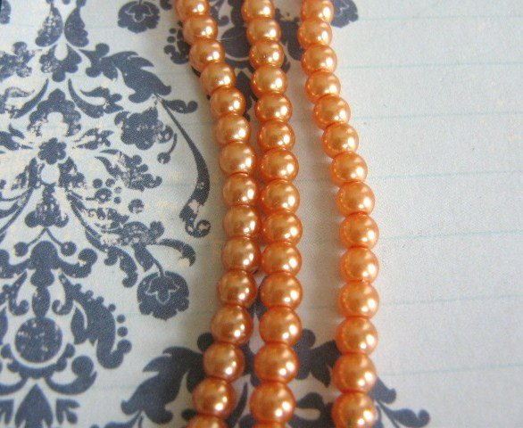 Glass Pearls Light Apricot 4mm Round 57 Orange Beads