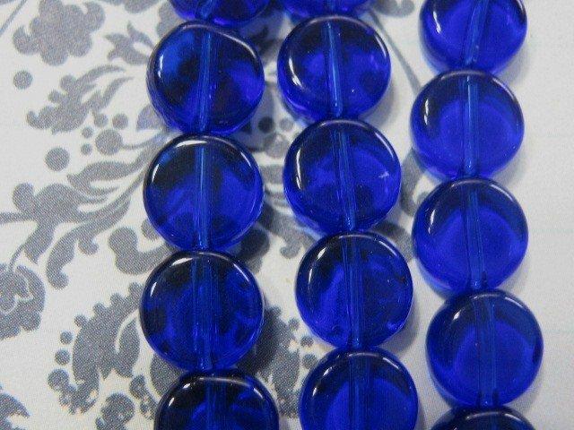 Cobalt Blue Transparent Glass Beads 8mm Coin
