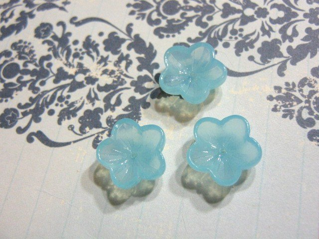 Aqua Blue Glass Flower 14mm Bead Cap 14 Beads