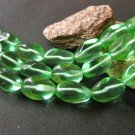 Green 11x7mm Oval Twist Czech Glass Beads